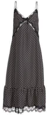 Marc Jacobs Women's Polka Dot& Lace Silk Midi Slip Dress - Black Ivory - Size 0