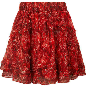 IRO Dazzle Ruffled Printed Georgette Mini Skirt - Red