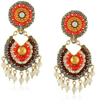Miguel Ases Mother-of-Pearl Tangerine Drop Earrings