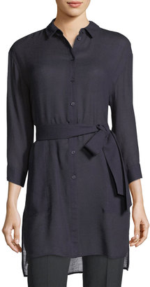Lafayette 148 New York Melody Tie-Front Long Blouse $239 thestylecure.com
