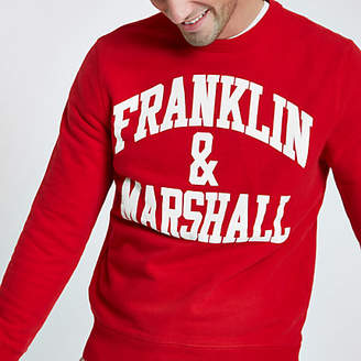 River Island Franklin and Marshall red crew neck sweatshirt