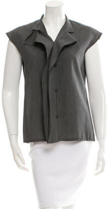 Yohji Yamamoto Pinstripe Button-Up Top $110 thestylecure.com
