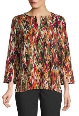 Rafaella Embellished Abstract Three-Quarter Sleeve Blouse