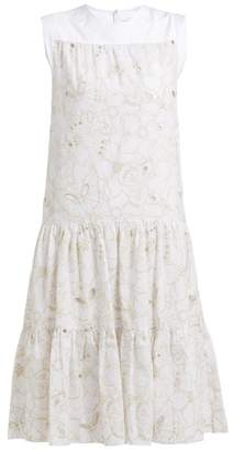 See by Chloe Tiered Floral Broderie Anglaise Cotton Midi Dress - Womens - White
