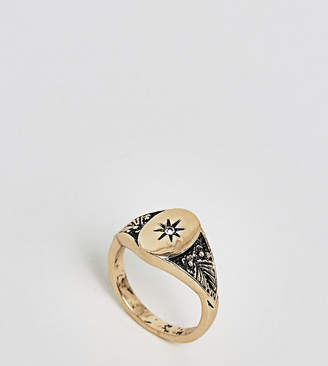 Asos DESIGN Curve vintage style signet pinky ring