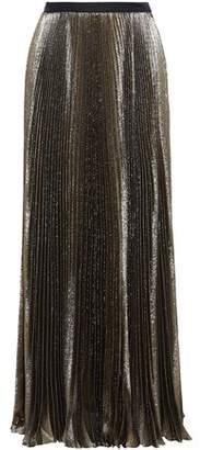 Reem Acra Pleated Metallic Woven Maxi Skirt