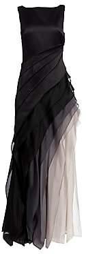 Halston Women's Satin and Organza Tiered Degradé Gown - Size 0