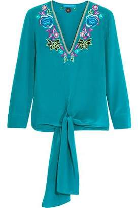 Matthew Williamson Woman Sakura Embroidered Silk Crepe De Chine Top Teal Size 8 Matthew Williamson Enjoy Sale Online pueEtI8