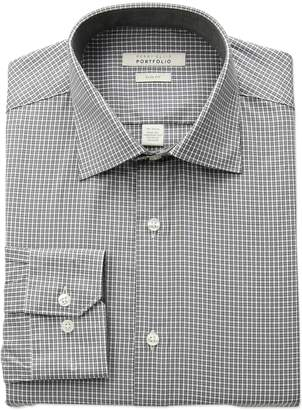 Perry Ellis Portfolio Men's Slim Fit Adjustable Collar Perf Mini Check Dress Shirt, Grey