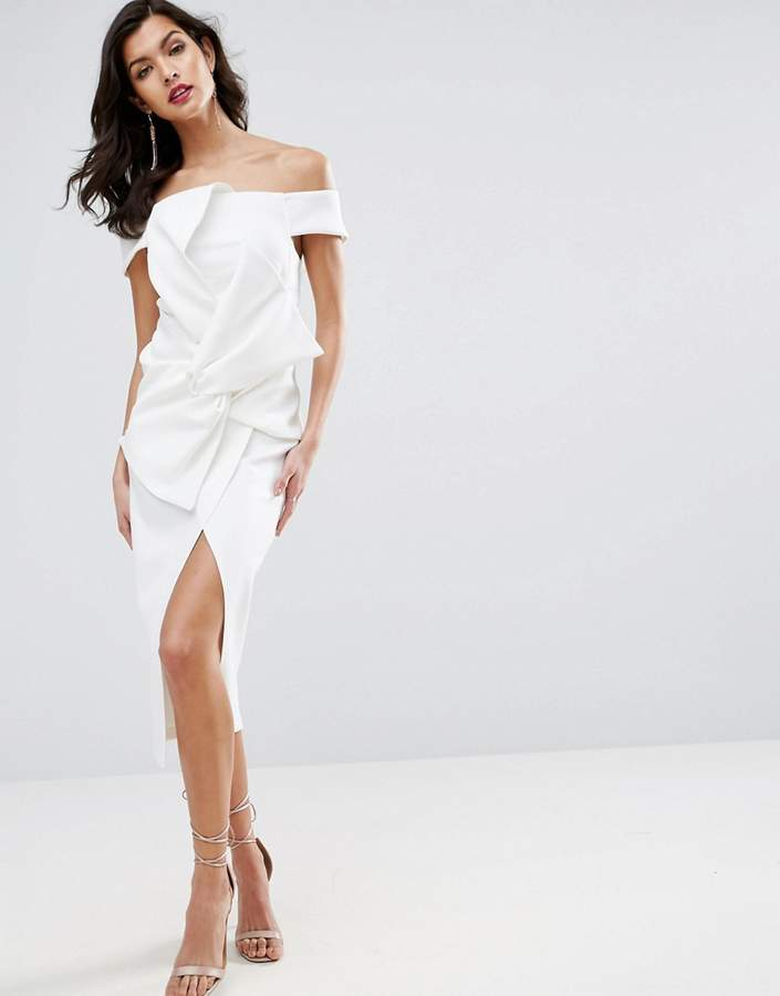 AsosASOS PREMIUM Bow Front Twist Off The Shoulder Midi Scuba Dress