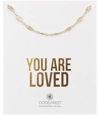 Dogeared 14K Yellow Gold Vermeil 'You Are Loved' Delicate Filigree Link Choker Necklace