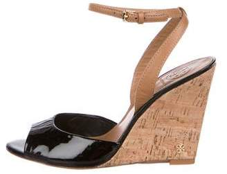 Tory Burch Peep-Toe Patent Leather Wedges