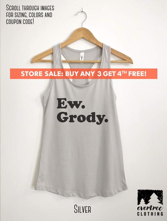 Etsy Ew Grody Tank Top, Ladies Fitness Tank, Funny Girlfriend Workout Tank Top, Funny Yoga Tank Top, Girl