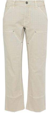 Cropped Frayed Low-Rise Straight-Leg Jeans
