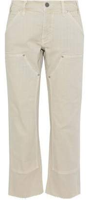 MiH Jeans Cropped Frayed Low-Rise Straight-Leg Jeans