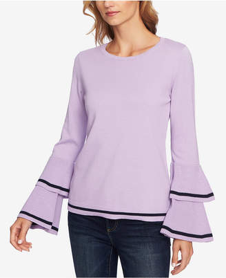 CeCe Tiered Bell-Sleeve Cotton Sweater