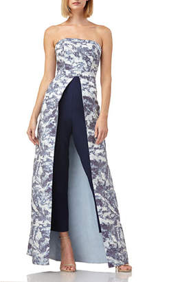5369d7795d Kay Unger New York Walk Thru Strapless Stretch Crepe Jumpsuit with Jacquard  Overlay