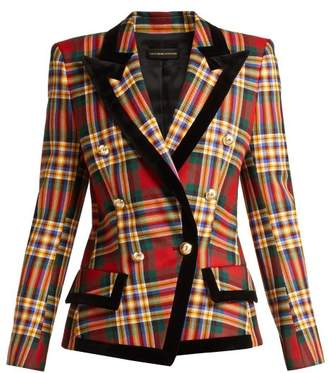 Alexandre Vauthier Double Breasted Tartan Wool Blazer - Womens - Red Multi