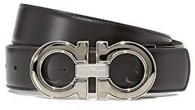 Salvatore Ferragamo Men's Double Gancio Enamel Reversible Leather Belt