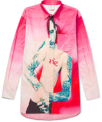 Vetements Oversized Printed Cotton-Poplin Shirt