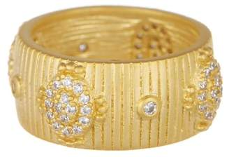Freida Rothman 14K Yellow Gold Amazonian Allure Plated Sterling Silver Pave CZ Ring - Size 6