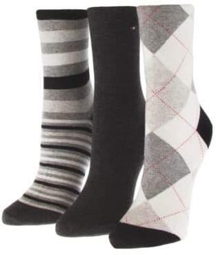 Tommy Hilfiger Three-Pack Assorted Crew Socks
