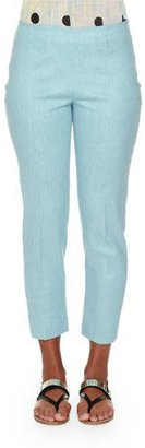 Piazza Sempione Audrey Chambray Cropped Pants, Aqua $530 thestylecure.com