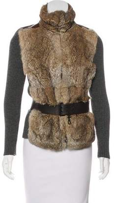 Prada Sport Fur-Trimmed Long Sleeve Jacket