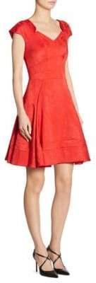 Zac Posen Cap-Sleeve Jacquard Dress