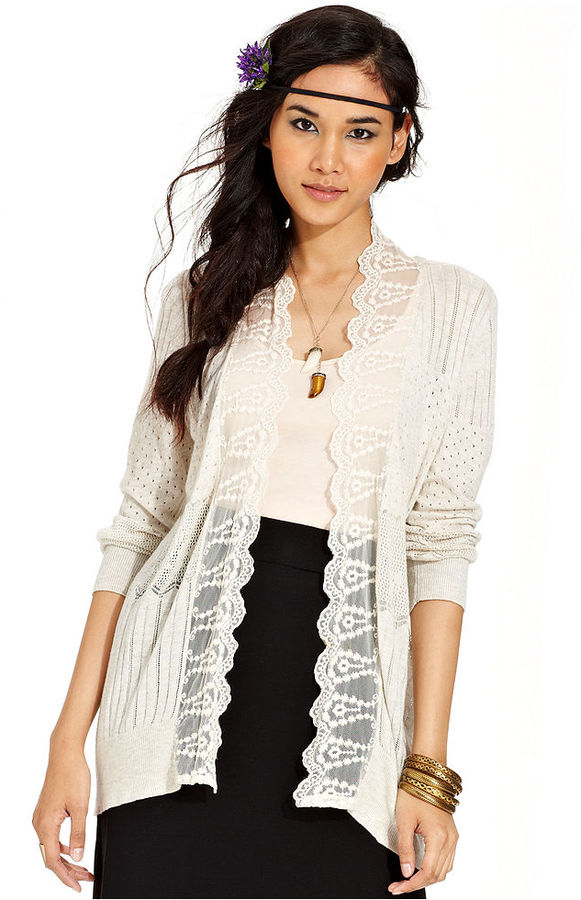 American Rag Juniors Sweater, Long Sleeve Lace Pointelle-Knit Cardigan