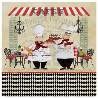 "Jean Plout 'French Cafe Chefs' Canvas Art - 35"" x 35"""