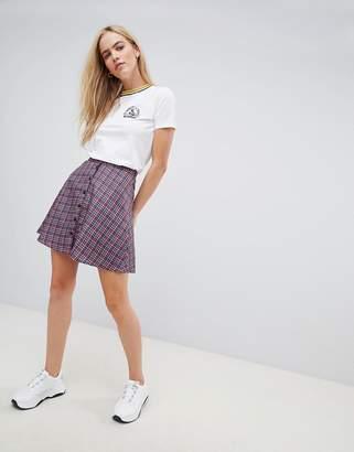 Daisy Street button through mini skirt in check