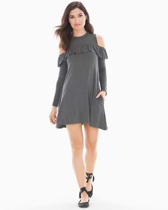 Elan International Cold Shoulder With Ruffle Short Dress Charcoal