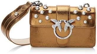 Pinko Mini Love Shiny Pearl C/spallaccio Laminato+perle, Women's Shoulder Bag,6.5x12x21 cm (W x H L)