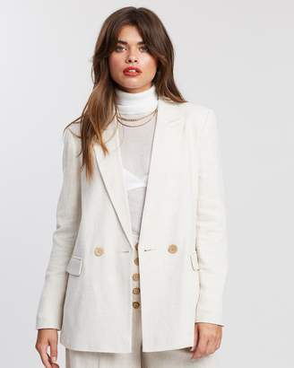 Topshop Double-Breasted Linen Blazer