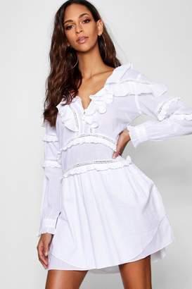 boohoo Ruffle Crochet Trim Detail A Line Dress
