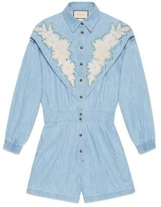 Gucci Denim jumpsuit with NY YankeesTM patch