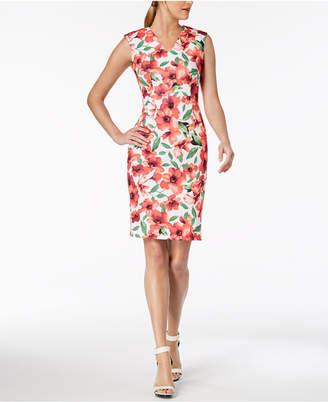 Calvin Klein Printed V-Neck Sheath Dress