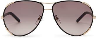 Chloé CE100SL Black & Gold-Tone Aviator Sunglasses
