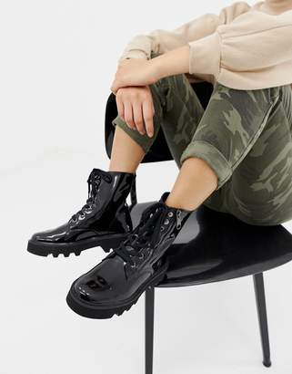 Calvin Klein Diahne Black Patent Leather Ankle Lace Up Boots With Zip Front Detail