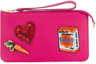Dolce & Gabbana embroidered patch clutch