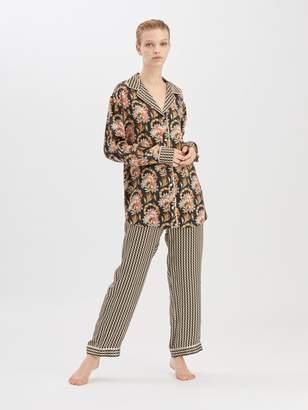 Oscar de la Renta Stripey Dots Satin-Crepe Pajama Pant