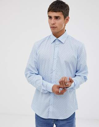 Esprit slim fit shirt with micro print in light blue