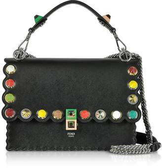 Fendi Kan I Studs Black Leather Shoulder Bag