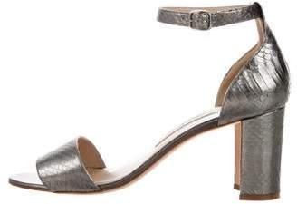 Manolo Blahnik Python Round-Toe Sandals