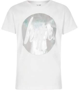 Hype Girls white circle foil print T-shirt
