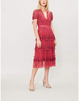 NEEDLE AND THREAD Heather embroidered tulle dress
