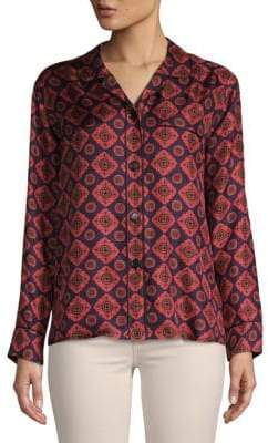 Burberry Printed Silk Button-Down Shirt