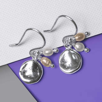 Otis Jaxon Silver Jewellery Silver And June Pearl Birthstone Organic Round Earrings