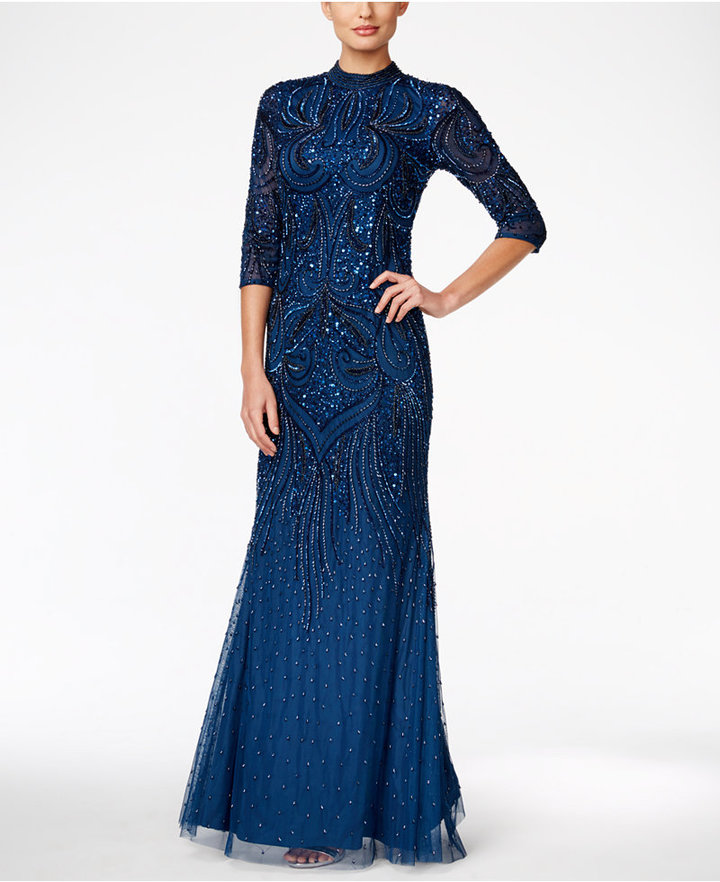 Adrianna Papell Adrianna Papell Beaded Mock-Neck Gown